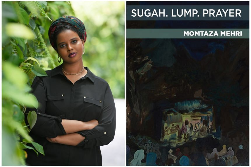 Momtaza Mehri (left) is the author of 2017 poetry chapbook sugah. lump. prayer (right).