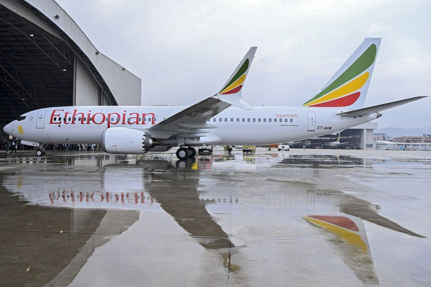 Above: An Ethiopian Airlines Boeing 737 Max 8 plane, the same type of aircraft that crashed on Sunday after leaving Addis Ababa, killing all 157 people on board.