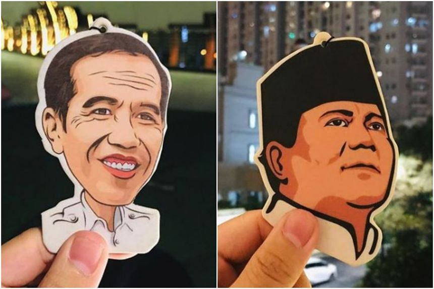 Jakarta-based D&A Airfresh has transformed presidential candidates Joko Widodo and Prabowo Subianto into hanging air fresheners.