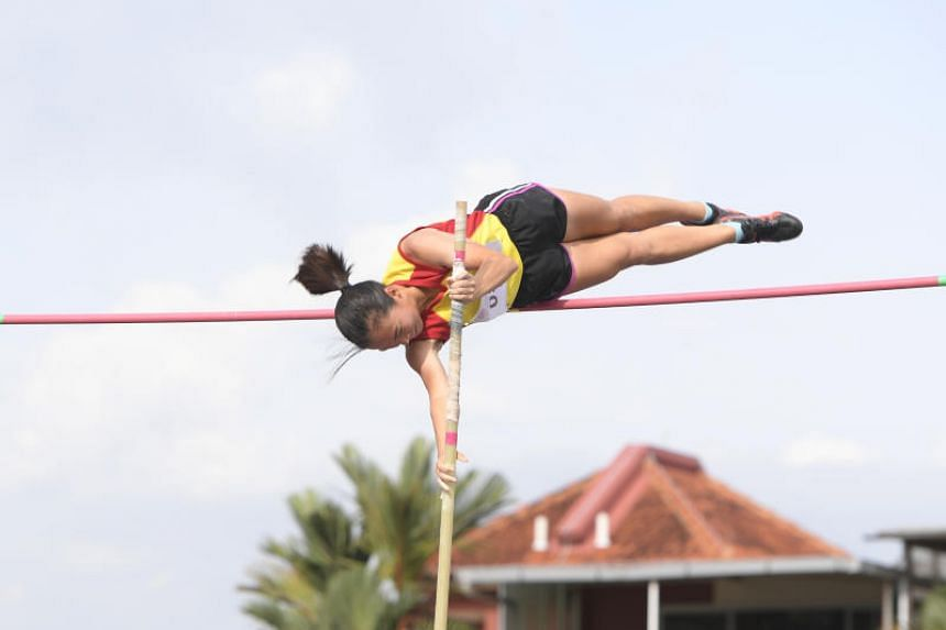 Hwa Chong Institution pole vaulter Togawa Mei won the gold medal at the Schools National Track and Field Championships at Choa Chu Kang Stadium on March 12, 2019.