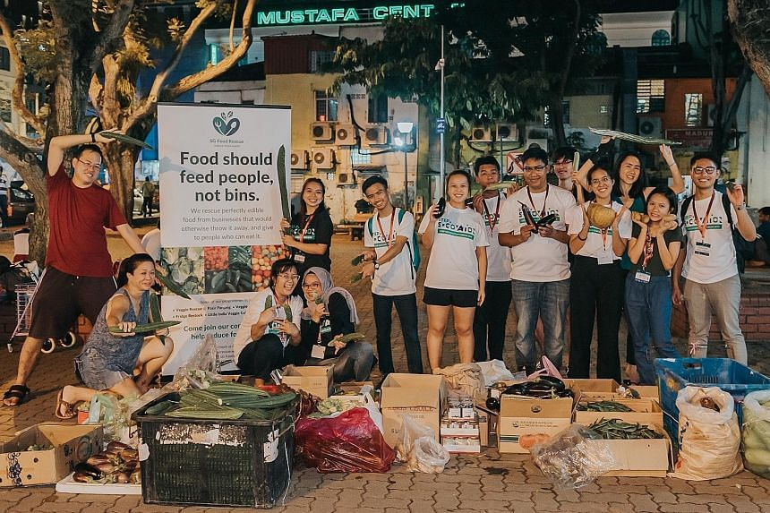 Together with the SG Food Rescue organisation, these Asean students collected close to 300kg of vegetables from food sellers and stallholders in Little India. The students are taking part in the inaugural Step Sociovation Forum, which is organised by