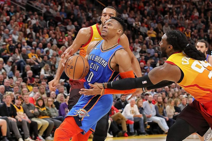 Oklahoma City Thunder's Russell Westbrook had 23 points in the 98-89 NBA win over the Jazz on Monday night, but his celebrations were marred by a bust-up with a Utah supporter.
