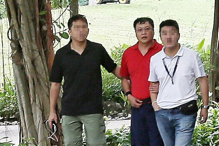 Above: The court heard that Ms Cui Yajie was strangled by Leslie Khoo Kwee Hock in his car at Gardens by the Bay in 2016. Khoo then burned her body in Lim Chu Kang Lane 8. Right: Khoo (in red) being led to the crime scene at Gardens by the Bay after