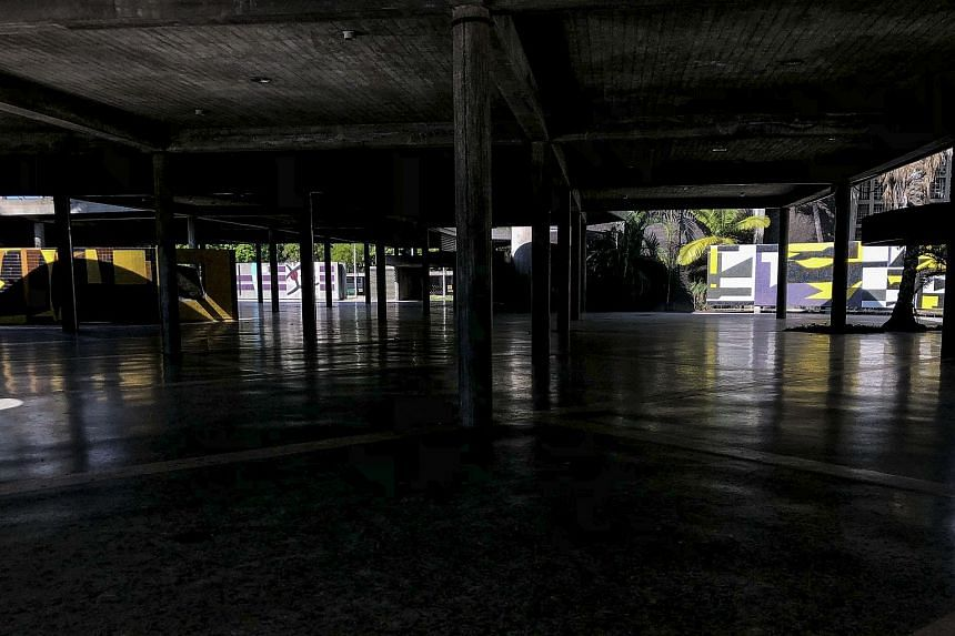 Empty facilities inside the Central University of Venezuela in Caracas on March 12, 2019, as classes continue to be suspended after a massive power outage affects some areas of the country.