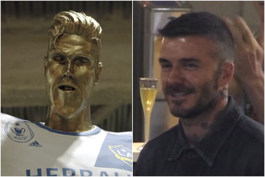 The fake David Beckham statue featured three teeth, a huge chin and a voluptuous bum.