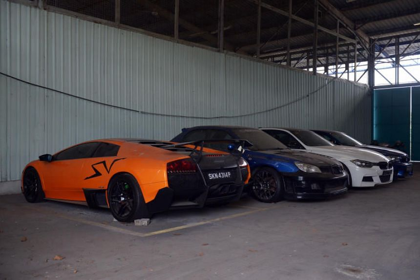 A line-up of high-powered cars impounded by the Traffic Police at its Airport Road pound in 2017.