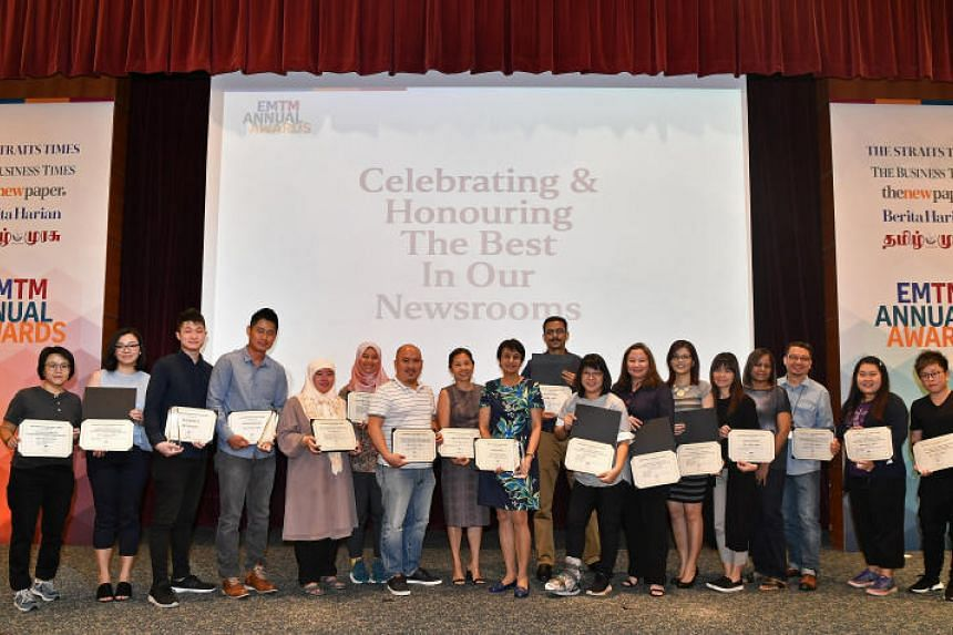 Winners of the Singapore Press Holdings' annual awards for its English/Malay/Tamil Media Group at the awards ceremony on March 13, 2019.