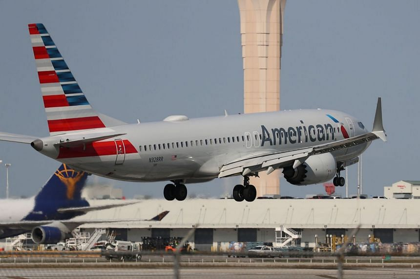 An American Airlines Boeing 737 Max 8 prepares to land at the Miami International Airport, on March 12, 2019.