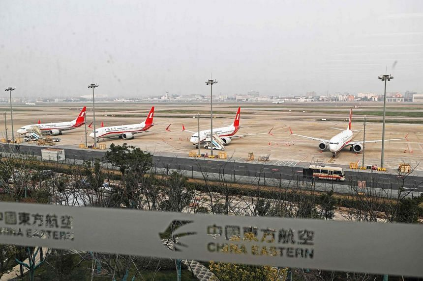 Boeing 737 Max 8 planes from Shanghai Airlines parked at Shanghai Hongqiao International Airport.