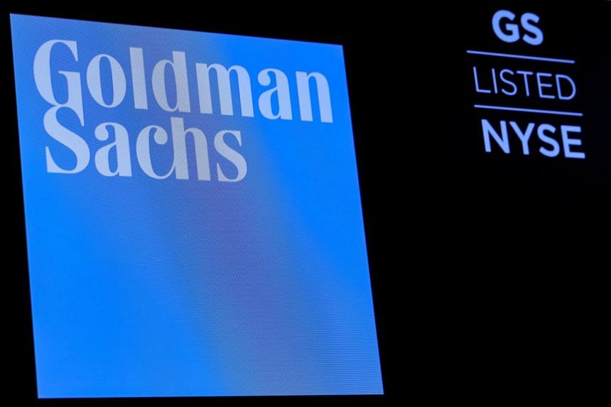 The logo of Goldman Sachs displayed on a screen at the New York Stock Exchange, on Dec 18, 2018.