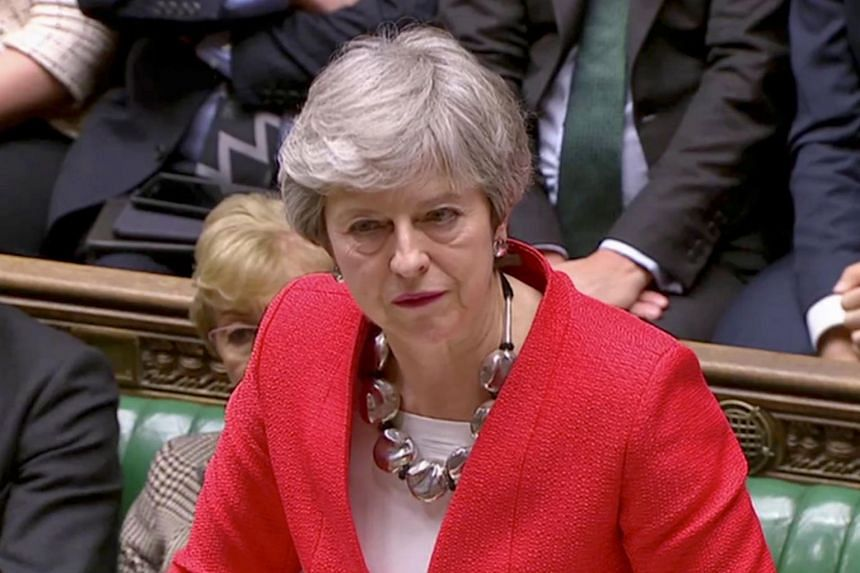 British Prime Minister Theresa May speaking in Parliament in London, Britain, on March 12, 2019.