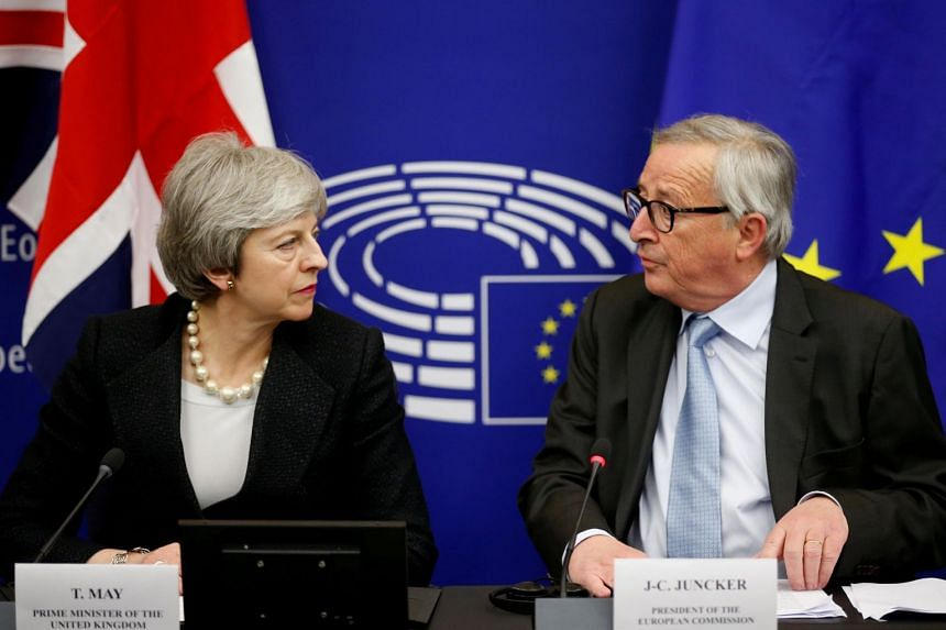 British Prime Minister Theresa May with European Commission president Jean-Claude Juncker in Strasbourg on Monday. She was there to agree on legally binding assurances on the controversial Irish backstop in the Brexit process.