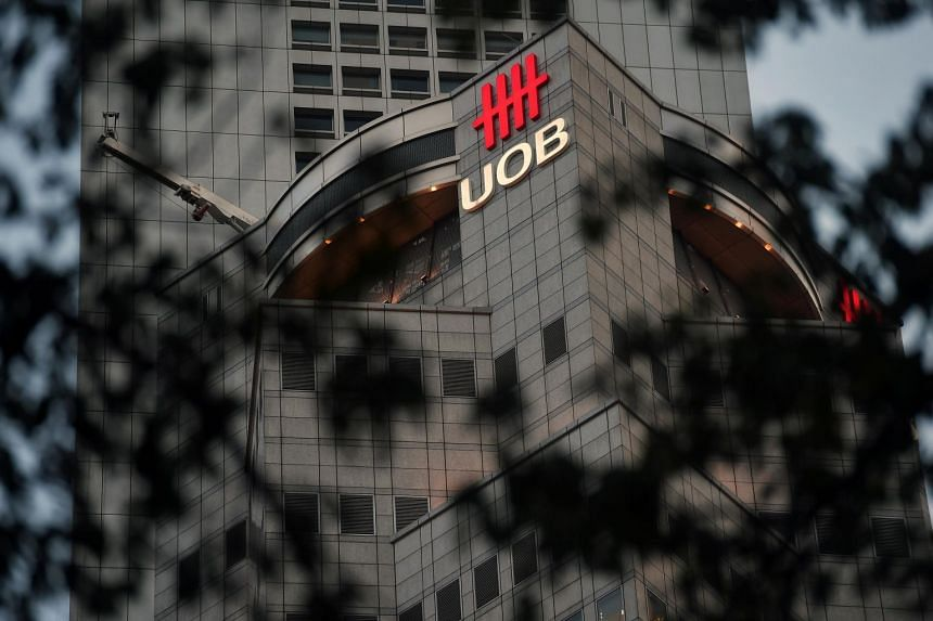 The UOB logo on the facade of its building in Shenton Way, on Jan 11, 2019.