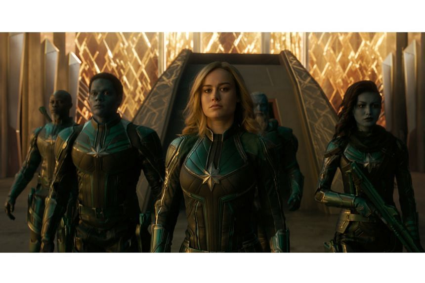 Captain Marvel (starring from left, Djimon Hounsou, Algenis Perez Soto, Brie Larson, Rune Temte and Gemma Chan) grossed $208 million in its North American debut.