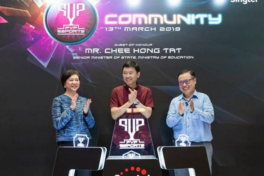 Singtel Group chief executive Chua Sock Koong, Senior Minister of State for Education Chee Hong Tat and Singtel International Group chief executive Arthur Lang at the launch of Singtel's e-sports community initiative on March 13, 2019.