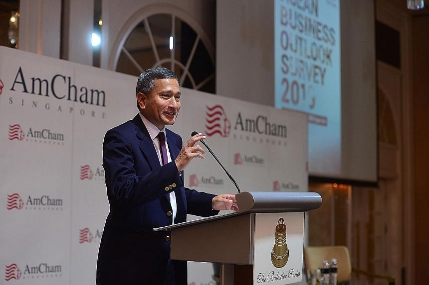 Foreign Minister Vivian Balakrishnan said the US should continue to be engaged and to play a leadership role. AmCham Singapore chairman Dwight Hutchins said US business leaders are right to have their capital hubs in Singapore to take advantage of op