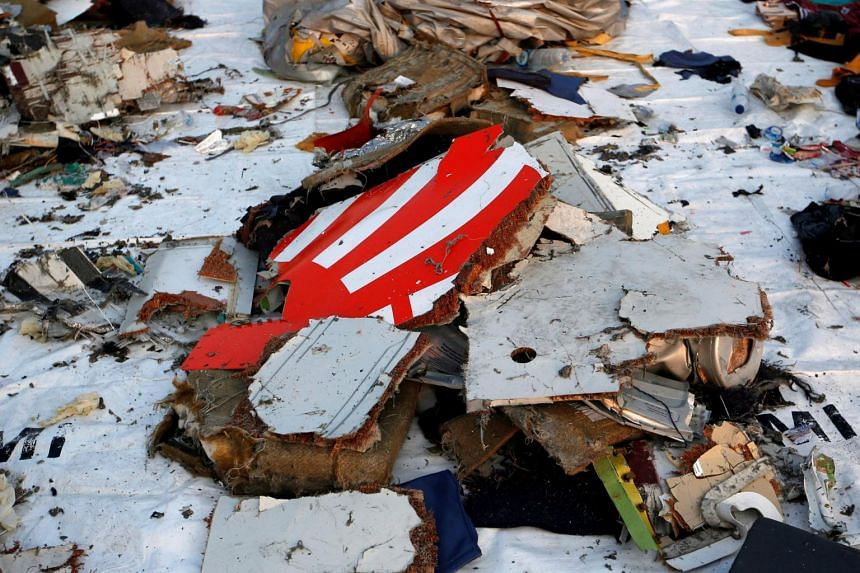 Wreckage recovered from Lion Air flight JT610 that crashed into the sea, at Tanjung Priok port in Jakarta, Indonesia, on Oct 29, 2018.