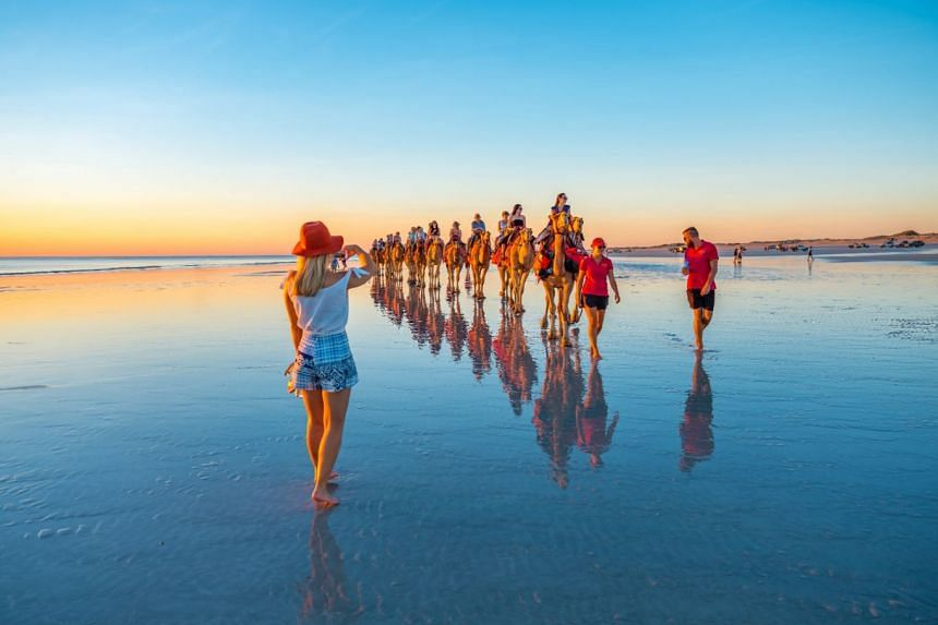 World-famous Cable Beach in Broome and its iconic sunset camel ride. PHOTO: TOURISM WESTERN AUSTRALIA