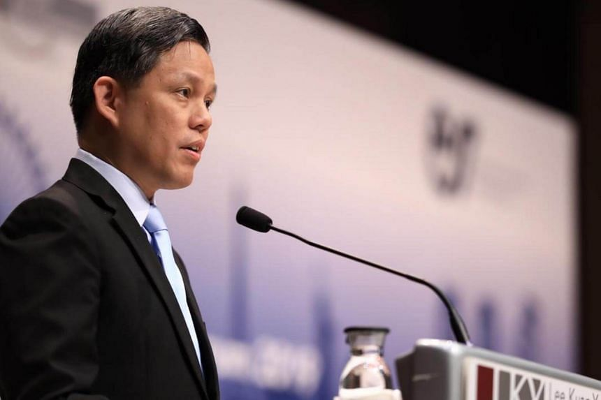 Trade and Industry Minister Chan Chun Sing giving his keynote speech at the Second Singapore-France Economic Forum at the Lee Kuan Yew School of Public Policy. The two-day forum's theme is New Horizons for the World Economy.