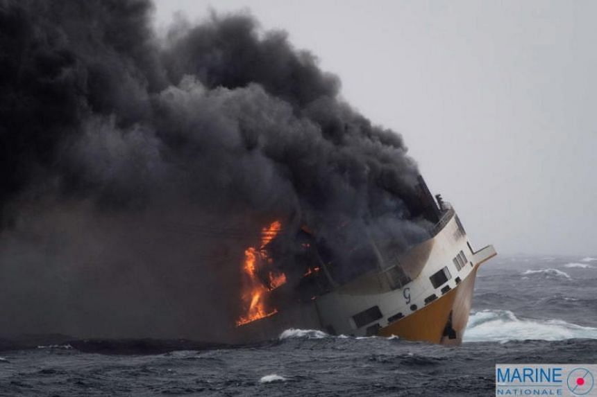 Italian ship 'Grande America' of the Grimaldi Group on fire about 200 nautical miles, off the coast of France, on March 12, 2019.