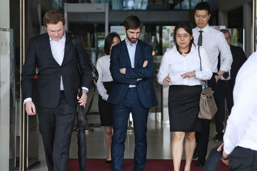 B2C2 co-founder Maxime Boonen (centre) with his lawyers at the Supreme Court on Nov 21, 2018. B2C2 had sued cryptocurrency exchange operator Quoine over trade reversals made on its platform in April 2017.