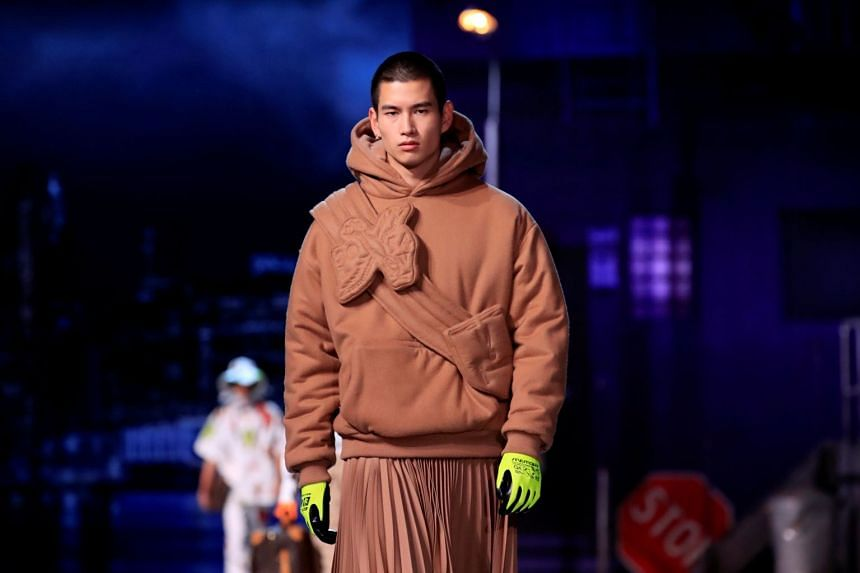 A model presents a creation by designer Virgil Abloh during a preview show for his Fall/Winter 2019-2020 collection for fashion house Louis Vuitton.