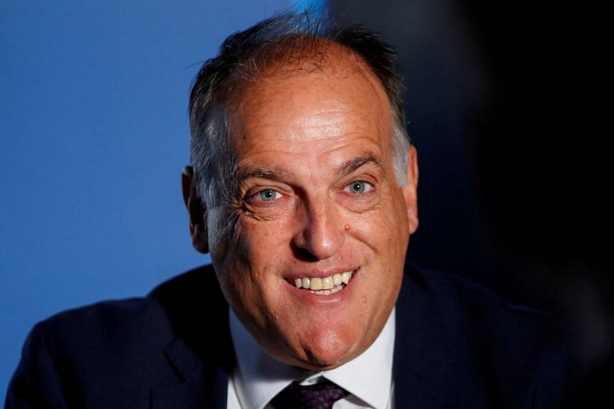La Liga president Javier Tebas smiles during an interview with Reuters in 2018.