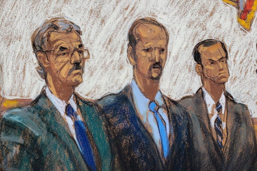 Lawyers for Huawei James Cole, David Bitkower and Michael Levy listen to Judge Ramon Reyes in an artist's illustration.