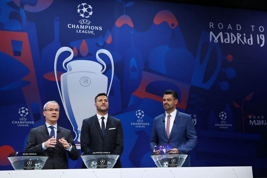 (From left) Uefa competitions director Giorgio Marchett with Uefa Champions League ambassador Julio Cesar and Pedro Pinto during the draw on March 15, 2019.