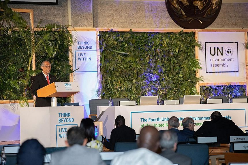 Environment and Water Resources Minister Masagos Zulkifli speaking at the United Nations Environment Assembly in Nairobi yesterday. To develop in a sustainable manner, a paradigm shift is needed for people to change their production and consumption p