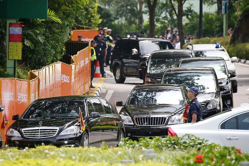 North Korean leader Kim Jong Un's motorcade leaving the Capella Singapore hotel in Sentosa after his meeting with US President Donald Trump last June. The vehicles may have been obtained illegally by North Korea, according to a UN panel of experts.