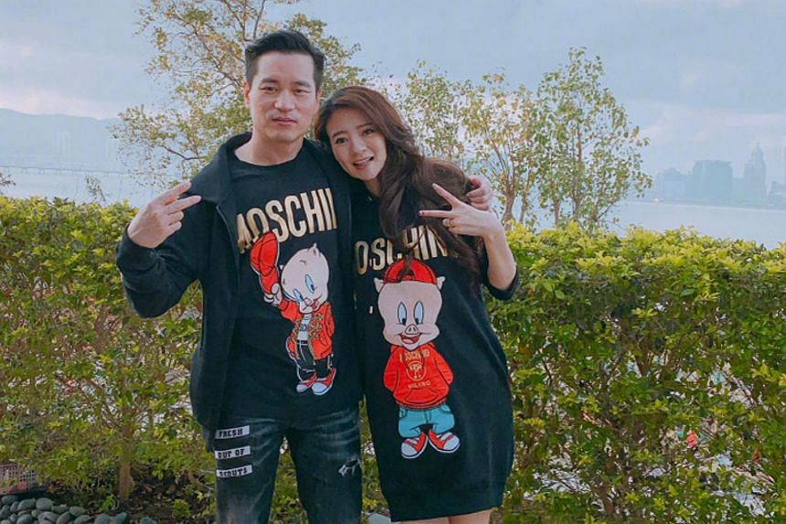 Taiwanese actress Ady An posted four photos along with the announcement, including a photo of her and Macau businessman Levo Chan in Moschino Porky Pig-motif T-shirts.