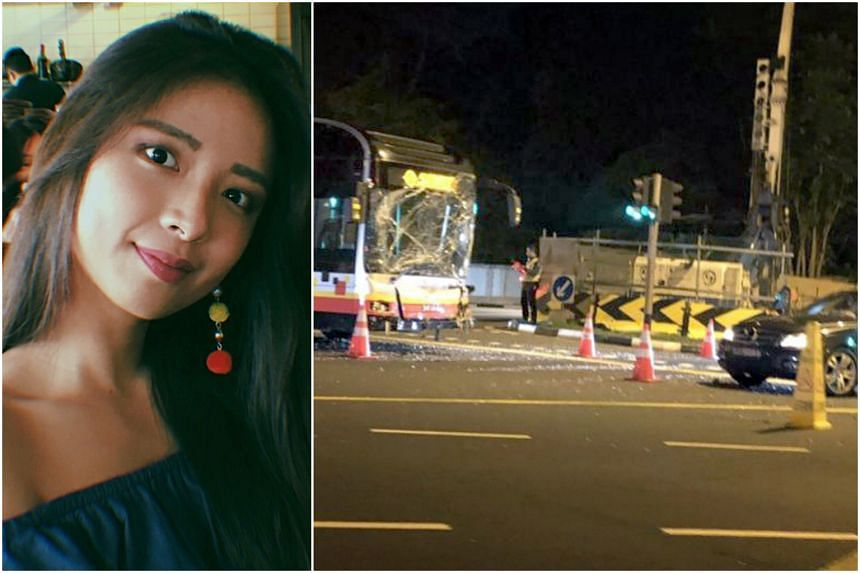 Ms Jasmine Lim, 23, was seated in the back of her friend's car when it collided with an SMRT bus at a Bukit Timah traffic junction in the early hours of April 22 last year. She was taken to the National University Hospital, where she died of a head i