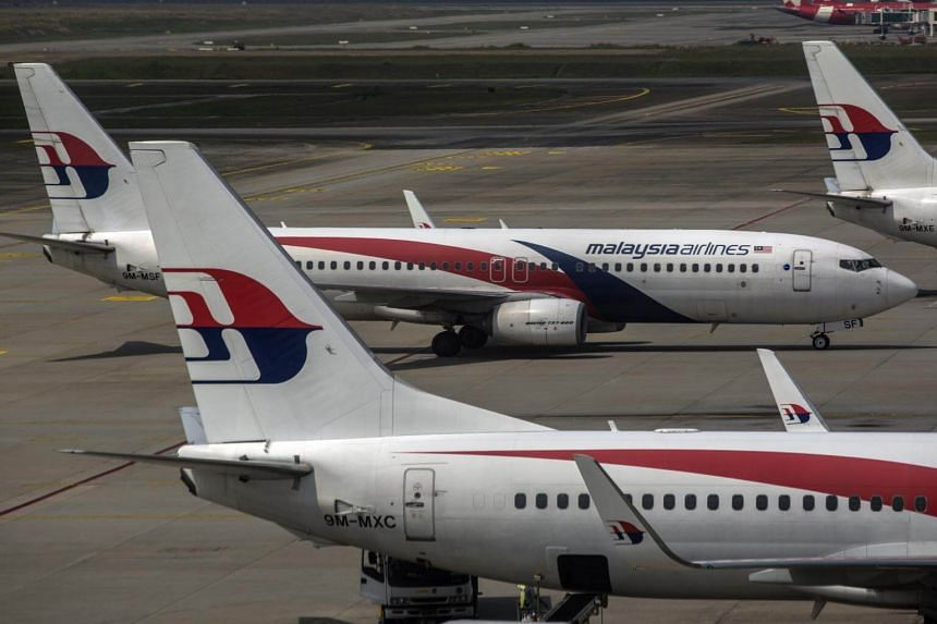 Malaysia Airlines aircraft seen from the viewing gallery at the Kuala Lumpur International Airport in Sepang, Selangor, on March 8, 2019.