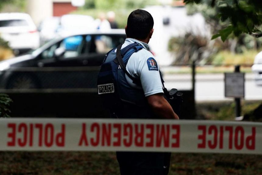 A police officer secures the area in front of the Masjid al Noor mosque after a shooting incident in Christchurch on March 15, 2019.