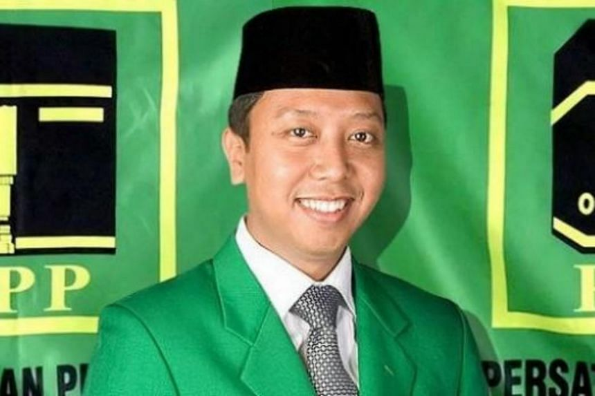 United Development Party chairman Muhammad Romahurmuziy was detained in Surabaya, Indonesia on March 15, 2019.