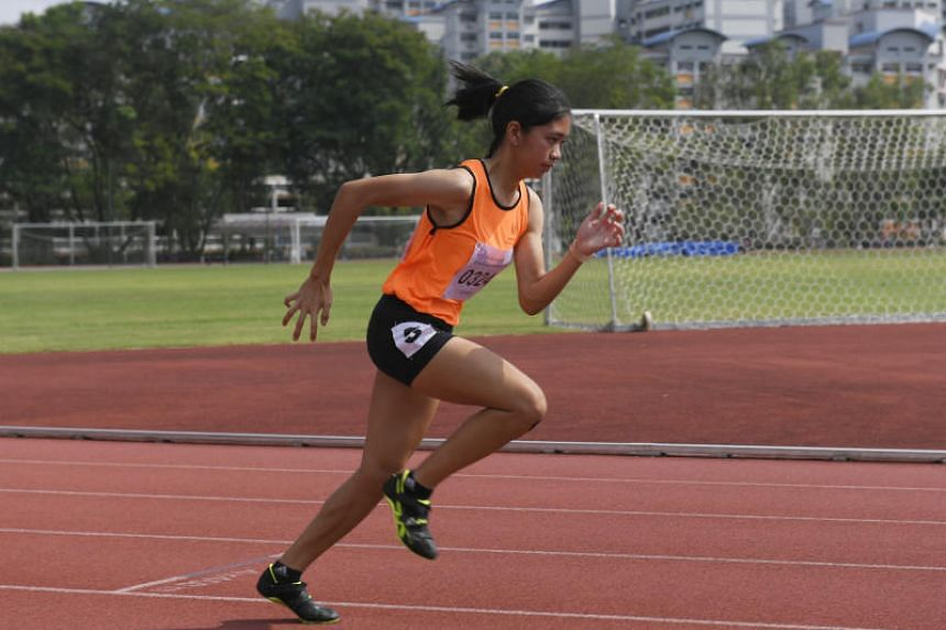 Diane Pragasam from the Singapore Sports School at the National School Games Track and Field finals held at Choa Chu Kang Stadium on  March 15, 2019.
