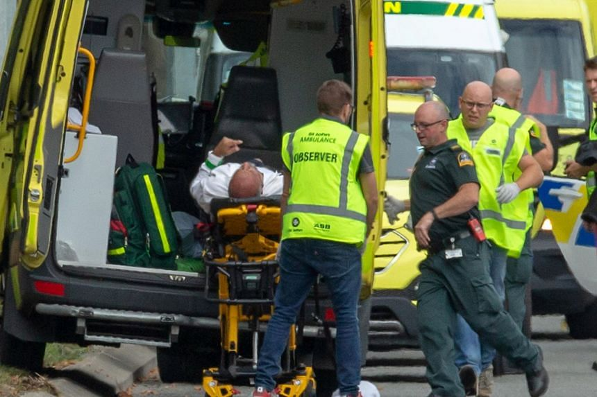 An injured person being loaded into an ambulance following a shooting at the Al Noor Mosque in Christchurch, New Zealand, on March 15, 2019.