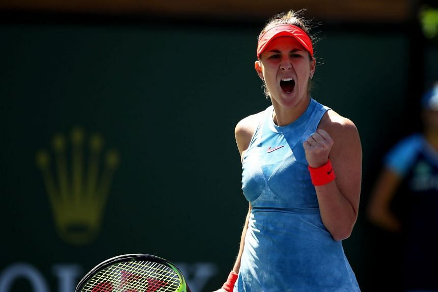 Bencic celebrates a point against Karolina Pliskova of the Czech Republic.