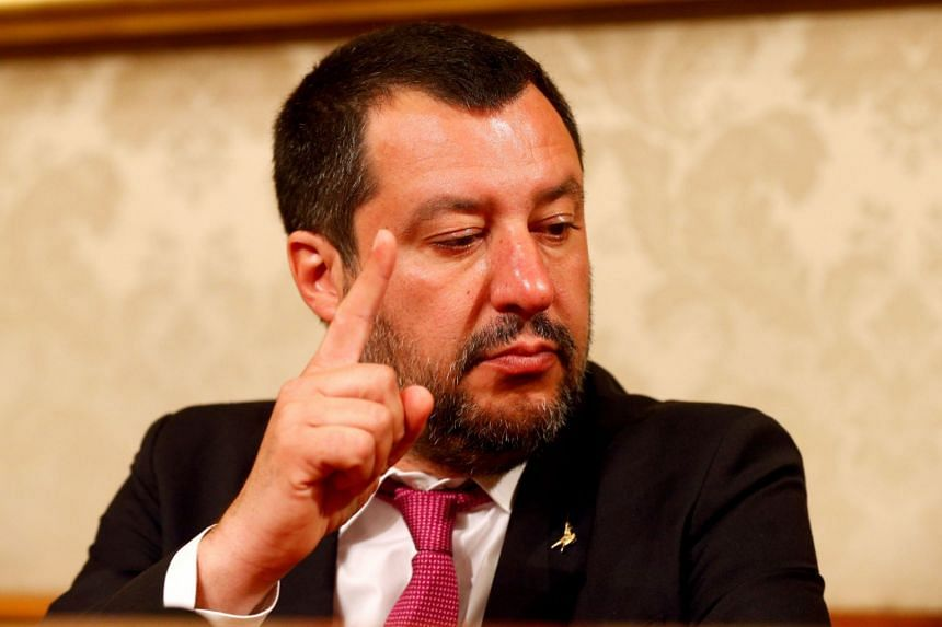 Salvini (above) is frequently accused of stoking racial tensions with anti-immigrant diatribes and of being Islamaphobic.