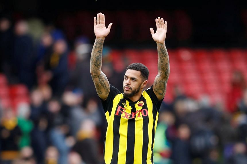 Watford's Andre Gray celebrates at the end of the match.