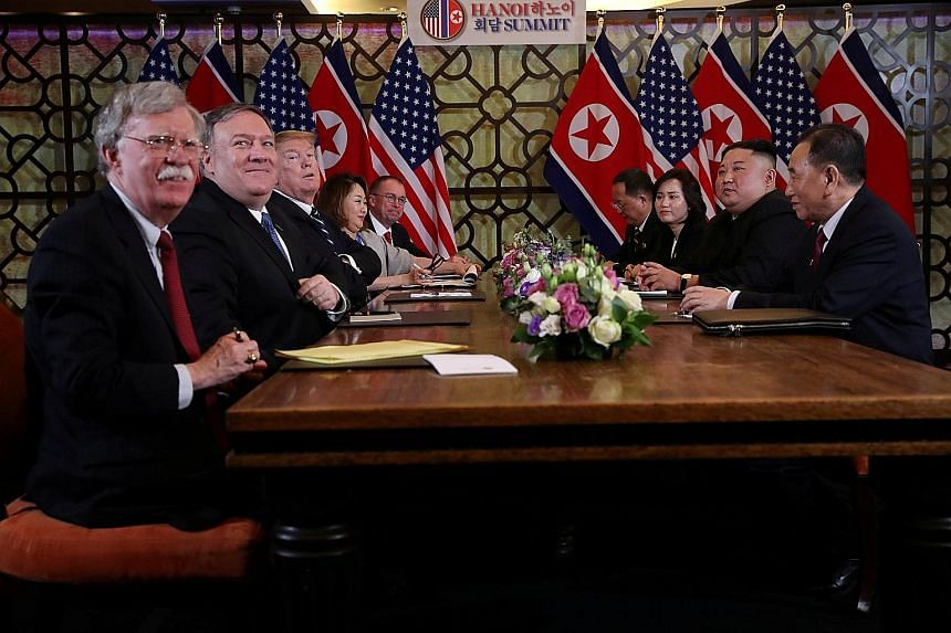 US President Donald Trump and North Korean leader Kim Jong Un meeting in Hanoi last month. North Korean Vice-Foreign Minister Choe Son Hui said US National Security Adviser John Bolton (first from left) and US Secretary of State Mike Pompeo (second f