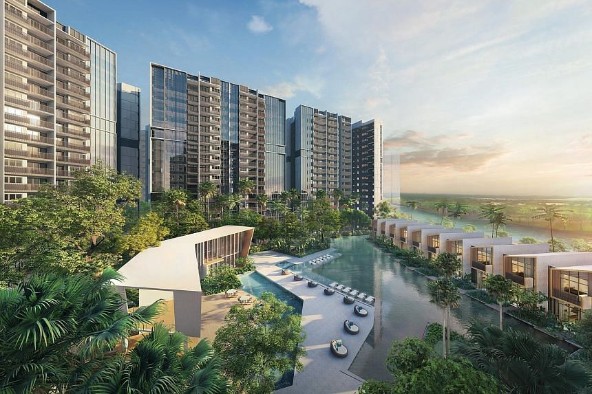 Riverfront Residences (above) and Affinity at Serangoon - both near proposed train stations of the upcoming first phase of the Cross Island Line - accounted for more than half of February's launched units, and contributed to 30 per cent of total sales. Af