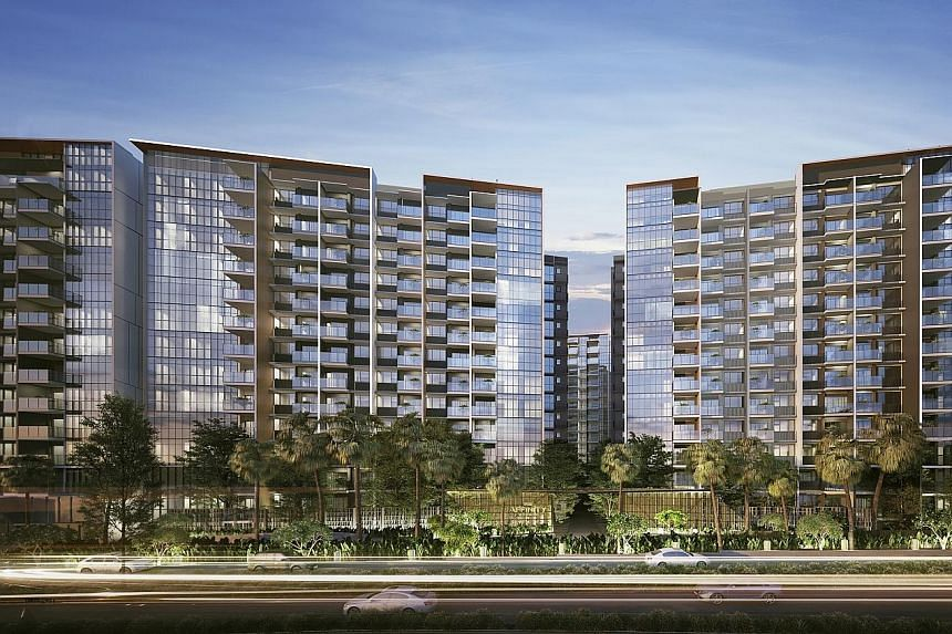 Riverfront Residences (above) and Affinity at Serangoon (below) - both near proposed train stations of the upcoming first phase of the Cross Island Line - accounted for more than half of February's launched units, and contributed to 30 per cent of to
