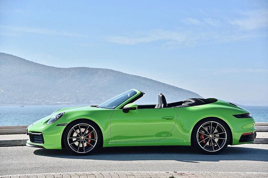 The Porsche 911 Carrera S Cabriolet has a retuned 3-litre flat-six twin-turbo engine developing 450hp and 530Nm of torque, and a redesigned cabin with cleaner lines.
