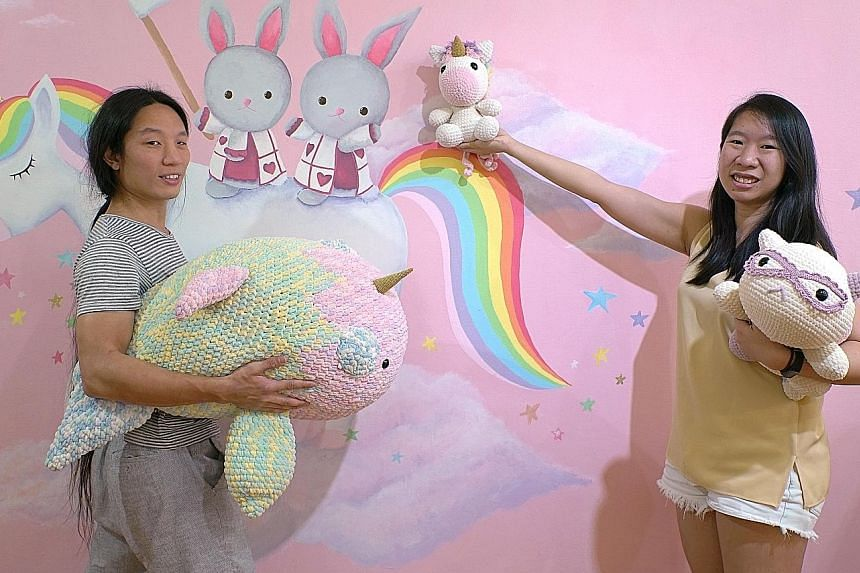 Mr Terrix Lin and Ms Angie Ng (both above) run crochet label Tiny Rabbit Hole.