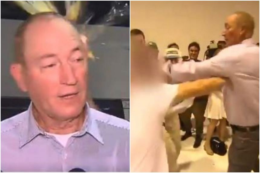 In video footage, much of the egg can be seen bursting upon contact with Australian senator Fraser Anning's head. He then turns and hits the youth's face in retaliation.