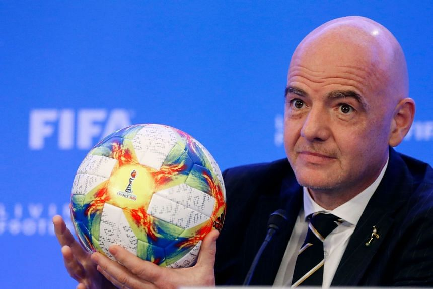 Gianni Infantino addresses the media during a press conference following the Fifa Council Meetings in Miami, Florida.