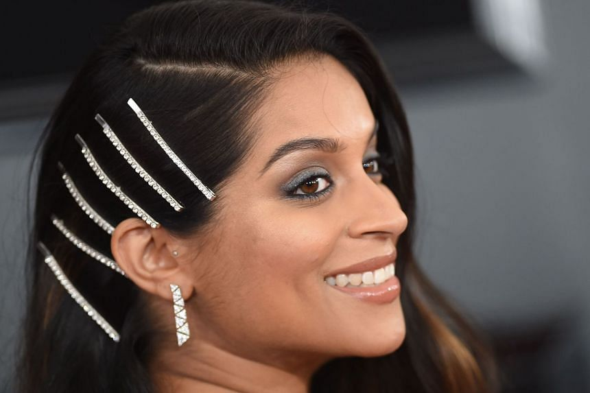Lilly Singh arrives for the Grammy Awards in Los Angeles in February 2019.