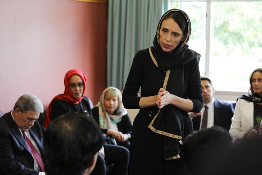 New Zealand PM Jacinda Ardern (centre) meets with members of the Muslim community in the wake of the mass shooting at two mosques, in Christchurch, New Zealand, on March 16, 2019.